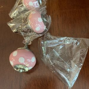 3 New pink & white polka dot knobs